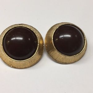 Dark Brown Clip Earrings